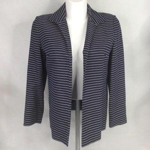 Talbots Blue White Stripe Open Front Lined Jacket